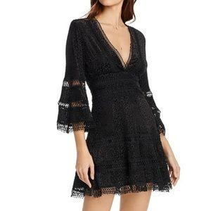 AQUA Dress Black Stretch Velvet Lace V-Neck NWT S